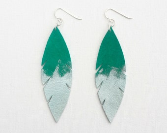 Metallic Dipped Leather Feather Earrings - Emerald Suede and Silver with Sterling Silver