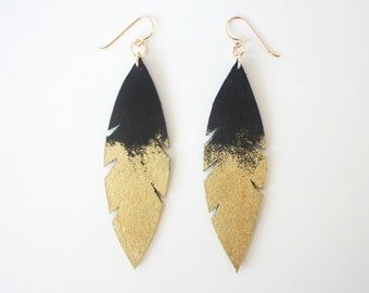 Metallic Dipped Leather Feather Earrings -  Black Suede and Gold with 14k Gold-Fill