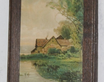 Vintage Print of Victorian Style English Cottage by the Sea, Turn of the Centurn