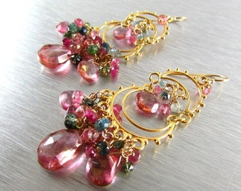 25% Off Summer Sale Pink Quartz and Watermelon Tourmaline Cluster Gold Filled Chandelier Earrings