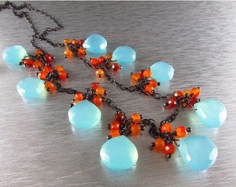 25% Off Summer Sale Aqua Chalcedony With Orange Carnelian Wire Wrapped Oxidized Sterling Silver Necklace