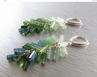 End Of Summer Sale Green And Blue Tourmaline Earrings, Indicolite and Green Tourmaline, Sterling Silver Tourmaline Dangle Cluster Earrings