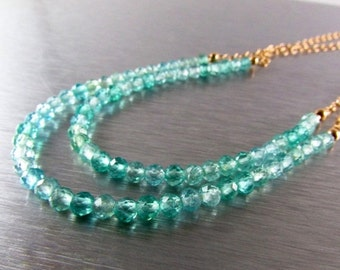 20 % Off Double Strand Shaded Apatite And Gold Filled Necklace