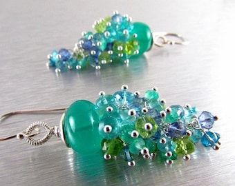 BIGGEST SALE EVER Green Onyx and Apatite, Peridot, and Quartz Gemstone Cluster With Sterling Silver Dangle Earrings