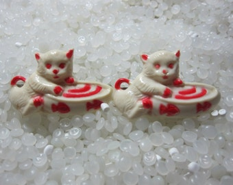 vintage hair barrette white kitten with a dish, rare matching set