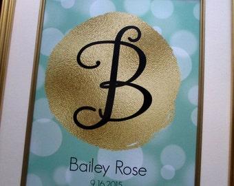 Nursery Wall Art, Personalized Baby Girl Nursery, Custom Name Print, Teal Gold Nursery Decor, Personalized Gift, Mom Wall Art, Baby Gift
