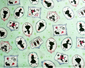 Japanese Fabric - Alice in Wonderland on Green - Fat Quarter (nu160201)