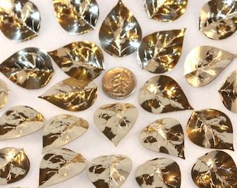 VinTAGE collection of 25 Really Large Gold toned Leaf Sequins (25)