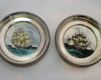 Set of 2 Hand Painted Frank M. Whiting Sterling and Glass Ship Coasters