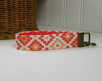 Key Fob Wristlet, Keychain, Fabric Key Fob ..Geometric in Coral