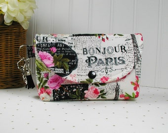 Large Snap Pouch with Clip and Tassel Charm, Pouch with Tassel, Organizer Pouch... Bonjour Paris