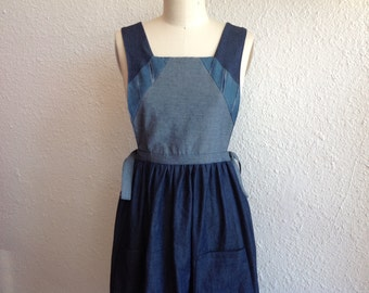 Pollyanna blue denim pinafore Sz XS/ S