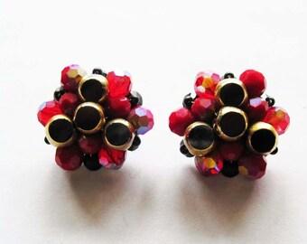 Vintage Glass Cluster Earrings