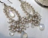CUPID SALE xOx Wedding Chandelier Earrings Wire Wrap Pearl Moonstone Bridal Earrings Handmade Silver Long Statement Earrings Boho Beach Wedd