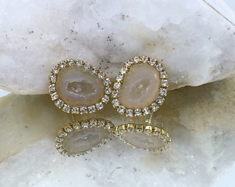 Baby Geode Stud, Tabasco Geode Slice Earrings Golden Beige Geode Druzy Diamond Bezel Look Post Earring Gem Slice Stud Raw Gemstone - Cerise