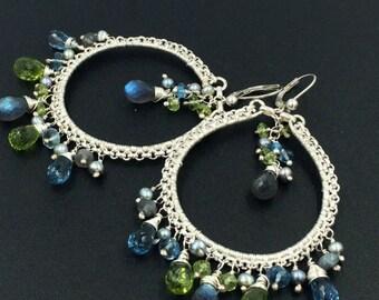 London Blue Topaz Luxury Gemstone Hoop Earring Colorful Chandelier Sterling Silver Wire Wrap Statement Bohemian Labradorite Boho Chic