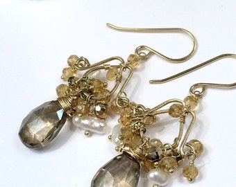 60% OFF SALE Gold Chandelier Earrings Wire Wrapped Citrine Gold Pyrite 14kt Gold Fill, Gold Gemstone Earrings, Keishi Pearl, Boho Chic