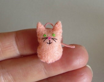 Peach cat felt miniature plush toy