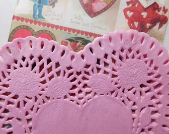 Large Pink Heart Shaped Doilies - One Dozen for Valentine's Day