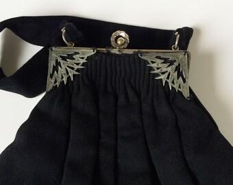 Vintage Purse 40's Guild Creations Black Deco Handbag with Marcasite