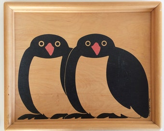 Vintage Taylor Ng Penguin Serving Tray Folk Art Wall Decor Wood San Francisco