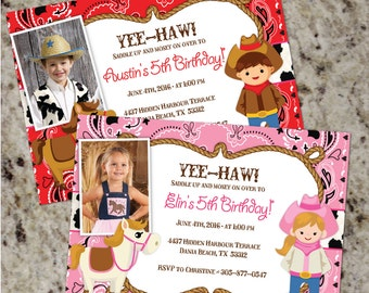 YEE-HAW! - Cow boy or Cowgirl Birthday Partyt invitations - Bandana & Cow Print -DIY - You Print