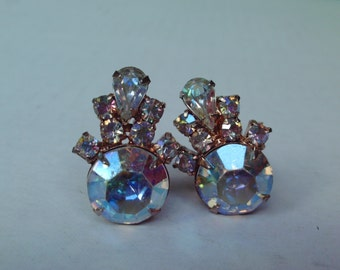 Iridescent Pale Pink Rhinestone Earrings Clip on