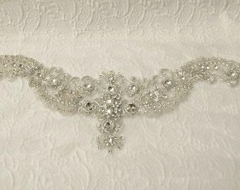 Crystal Rhinestone Applique for Sweetheart Neckline Crew Neck  Bridal Dresses Wedding Gown