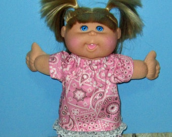 "Cabbage Patch Kids  Doll Clothes  Pink Paisley  Short  Set  14""  or 15"" Doll Adoptimals"