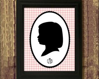 Framed Custom Silhouette Portrait - Framed 8x10 Art Print - Trending Plaid with Monogram
