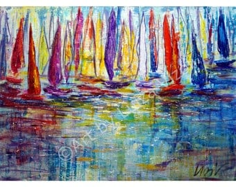 Original Painting  Sailing Competition Large Canvas Acrylic Artwork by Luiza Vizoli 40x30 Ready to Ship