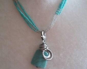Faux Tourquoise Necklace Charm Necklace Blue Beaded Necklace deetledi
