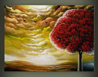 red tree art abstract Original painting art original acrylic painting stars painting cloud tree sunset 28 x 22 Mattsart