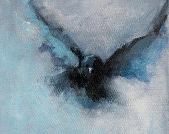 Acrylic Painting Giclee Fine Art Print Black Bird Crow Flying 8 x 8 - Teal and Black