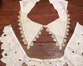 Antique lace collars, Lot of three,  handmade lace, vintage lace collar, Edwardian collar