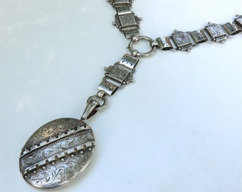 Victorian Silver Locket with Book Chain Collar Necklace Fabulous Keepsake