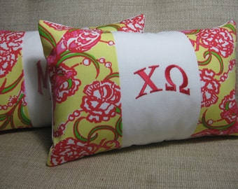 """Monogrammed Chi Omega Pillow (Lilly Pulitzer Sorority Fabric) w/ INSERT 8""""x12""""/Sorority Gift/ Big/ Little Gift/Bid Day/Chapter Gift"""