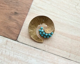 Gold metal and Turquoise Bead Swirl Brooch