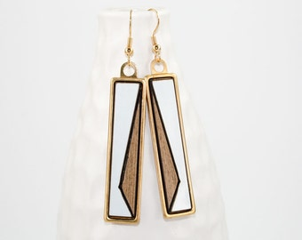 Modern Geometric Dangle Earrings - Two-Tone Glossy Laminate - Laser Cut Asymmetrical Triangle Design in Brass Setting (Wood and White Gloss)