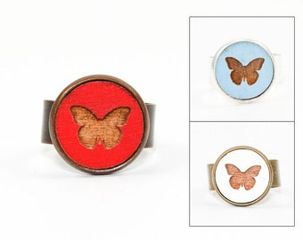 Butterfly Ring - Laser Cut - Engraved Wood in Adjustable Setting (Choose Your Color / Made To Order)