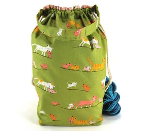 Large Knitting Crochet Project Bag - Heather Ross Tiger Lily