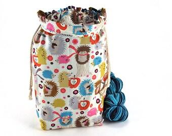 Medium Knitting Crochet Project Bag *with interior yarn guide* - Hedgehog Meadow
