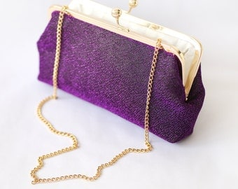 Shimmery Purple Mauve Clutch Purse for Bride, Bridesmaid, Mothers