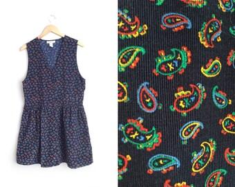 Size L // PAISLEY CORDUROY JUMPER // Navy Blue - V-Neck Pinafore - Sleeveless Button-Front Dress - Vintage '90s.