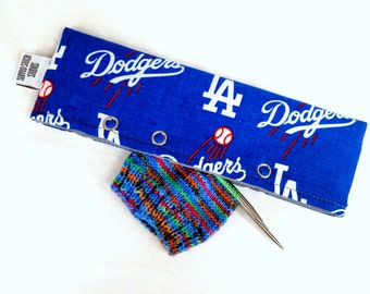 Stitch Holder Point Protector Zipper Pouch Needle Nook - DPN and Circular Project Holder - LA Dodgers