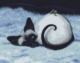 Siamese Cat Cross Stitch, 'Cat Nap', Cat Cross Stitch, AmyLyn Bihrle, Cross Stitch Kit, DMC Materials, Counted Needlecraft Kit