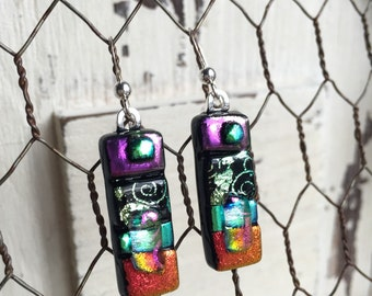 Fused Glass Jewelry - Fused Glass Earrings - Dichroic Glass Earrings - Fused Glass Dangle Earrings - Colorful Earrings - Dichroic Glass