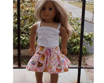 18 inch Dolls Clothes - Girl Doll Clothes -  Summer Skirt Outfit - Skirt - Top
