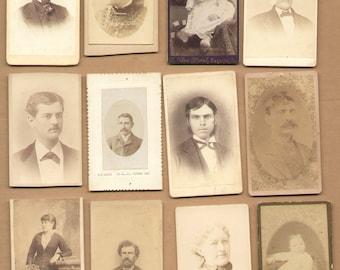 12 Different Antique CDV Photographs 1860-1880 Vintage Historic Photos Lot39