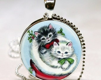 Cute as can Be CHRISTMAS KITTENS in Stocking Cat Lover Gift Altered Art Pendant Necklace